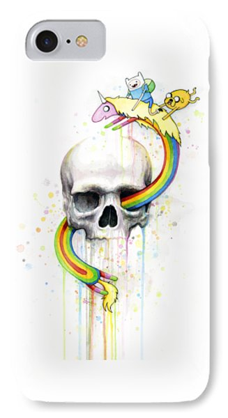 Adventure Time Skull Jake Finn Lady Rainicorn Watercolor IPhone Case by Olga Shvartsur