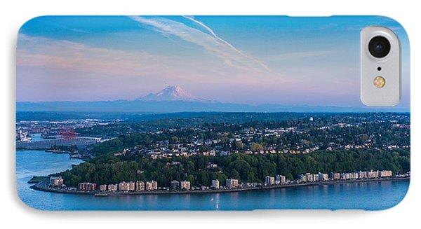 Aerial Alki West Seattle And Rainier IPhone Case by Mike Reid