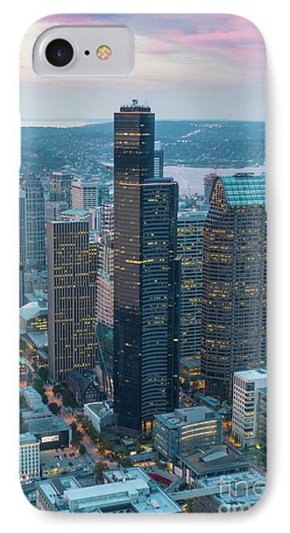 Aerial Columbia Center Seattle IPhone Case by Mike Reid