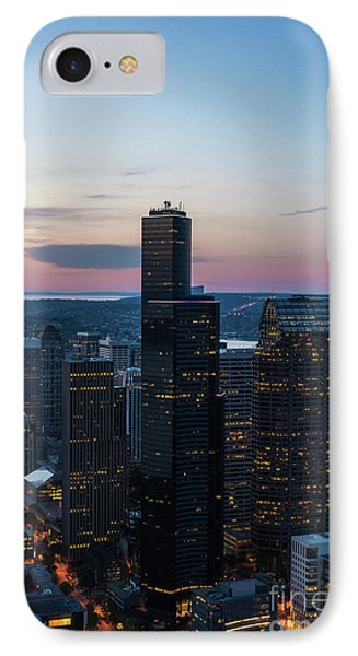 Aerial Columbia Center Sunset IPhone Case by Mike Reid