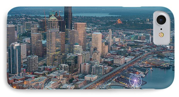 Aerial Downtown Seattle And The Great Wheel IPhone Case by Mike Reid
