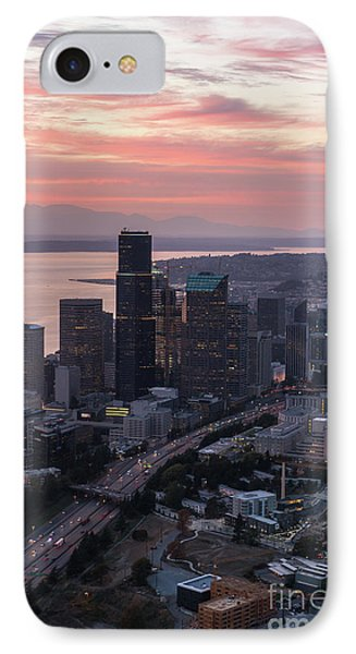 Aerial Downtown Seattle At Sunset IPhone Case by Mike Reid