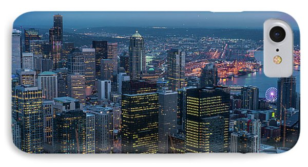 Aerial Downtown Seattle Dusk Details IPhone Case by Mike Reid