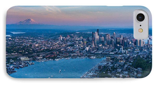Aerial Lake Union, Rainier And Seattle IPhone Case by Mike Reid