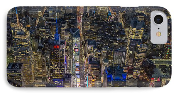 Aerial New York City 42nd Street IPhone Case by Susan Candelario