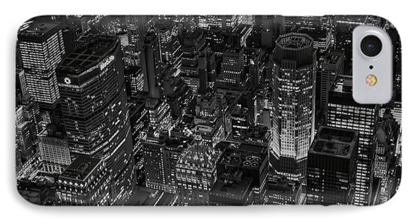 Aerial New York City Skyscrapers Bw IPhone Case by Susan Candelario