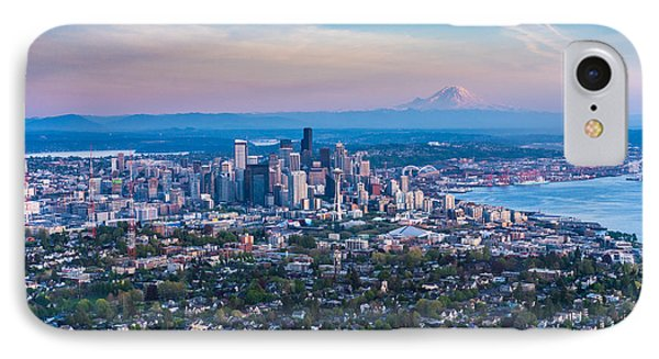 Aerial Queen Anne And The Seattle Skyline IPhone Case by Mike Reid