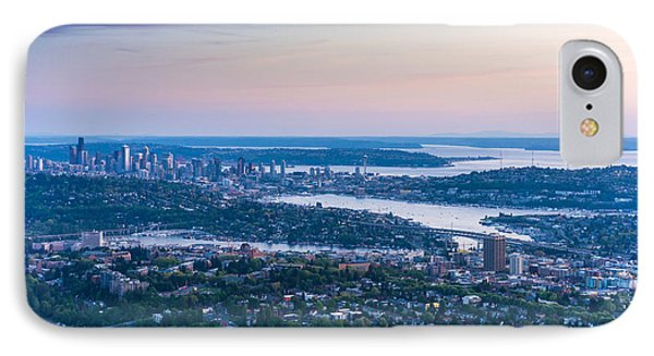 Aerial Seattle Dusk View IPhone Case by Mike Reid