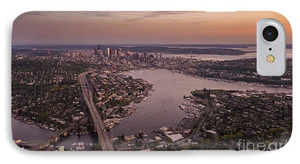 Aerial Seattle View Along Interstate 5 IPhone Case by Mike Reid