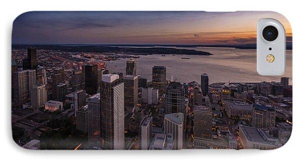 Aerial Seattle Westward View IPhone Case by Mike Reid