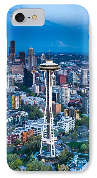 Aerial Space Needle Downtown Seattle And Rainier IPhone Case by Mike Reid