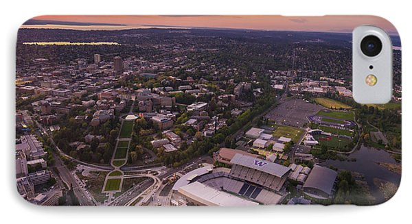 Aerial University Of Washington Campus At Sunset IPhone Case by Mike Reid