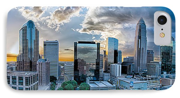 Aerial View Of Charlotte City Skyline At Sunset Phone Case by Alex Grichenko