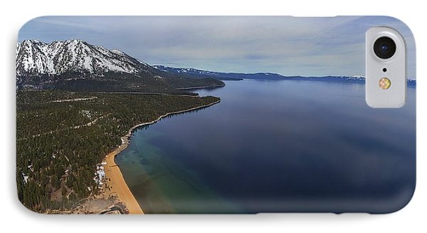 Aerial View Of Ski Beach, Lake Tahoe IPhone Case by Brad Scott