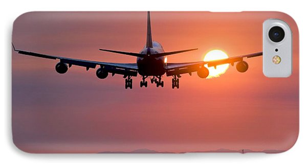 Aeroplane Landing At Sunset, Canada Phone Case by David Nunuk
