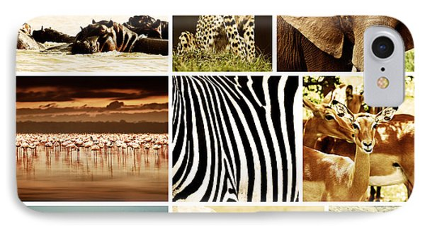 African Animals Safari Collage  Phone Case by Anna Om