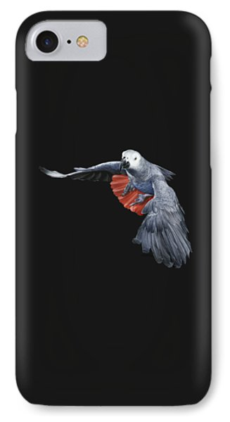 African Grey Parrot Flying Phone Case by Owen Bell