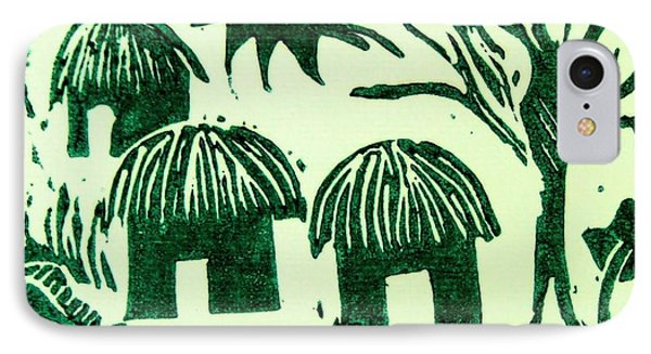 African Huts Phone Case by Caroline Street