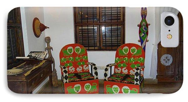 African Interior Design 5 Beaded Chairs IPhone Case by Exploramum Exploramum