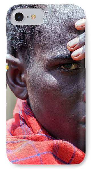 African Maasai Warrior IPhone Case by Amyn Nasser