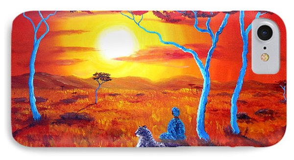 African Sunset Meditation IPhone Case by Laura Iverson