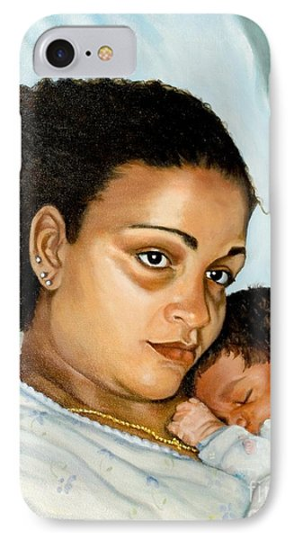 IPhone Case featuring the painting After Birth Jacina And Javon by Marlene Book