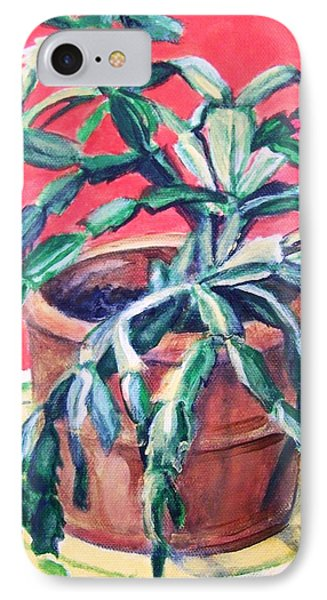 IPhone Case featuring the painting Christmas Cactus by Laura Aceto