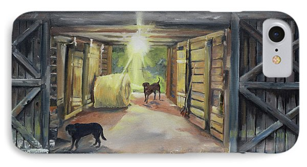 After Hours In Pa's Barn - Barn Lights - Labs IPhone Case by Jan Dappen