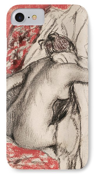 After The Bath Seated Woman Drying Herself IPhone Case by Edgar Degas