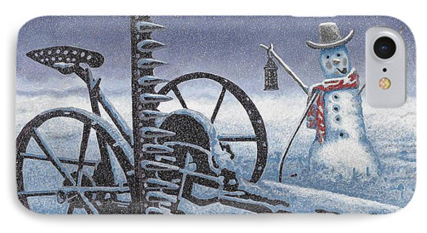 After The Harvest Snowman IPhone Case by John Stephens