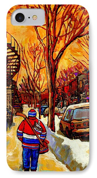 After The Hockey Game A Winter Walk At Sundown Montreal City Scene Painting  By Carole Spandau IPhone Case by Carole Spandau