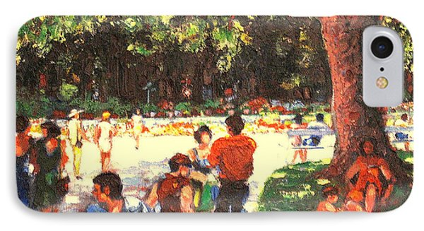 IPhone Case featuring the painting Afternoon In The Park by Walter Casaravilla