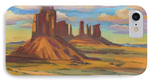 IPhone Case featuring the painting Afternoon Light Monument Valley by Diane McClary