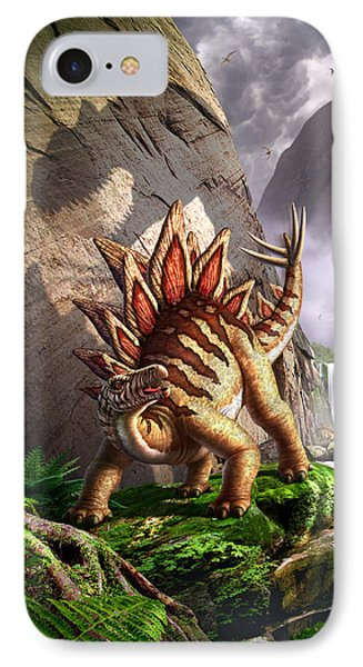 Dinosaur iPhone 7 Case - Against The Wall by Jerry LoFaro