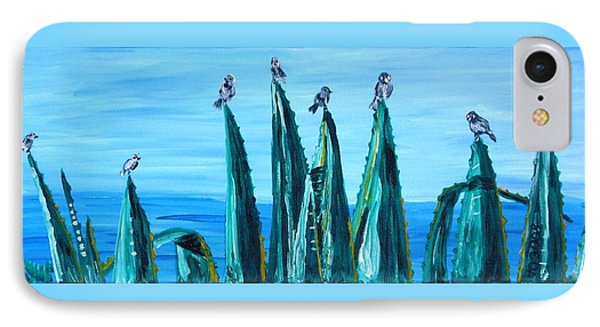 Agave With Sparrows IPhone Case by Valerie Ornstein