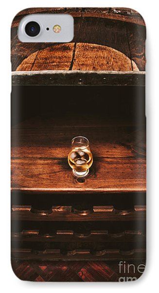 Aged Glass Of Rum On Cellar Barrel IPhone Case by Jorgo Photography - Wall Art Gallery