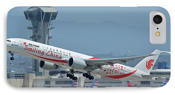 IPhone Case featuring the photograph Air China Boeing 777-39ler B-2035 Smiling China Los Angeles International Airport May 3 2016 by Brian Lockett