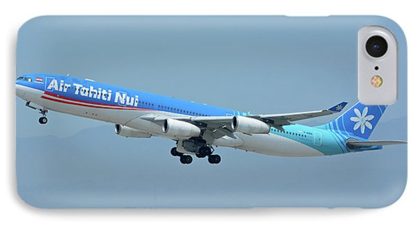 Air Tahiti Nui Airbus A340-313x F-osea Los Angeles International Airport May 3 2016 Phone Case by Brian Lockett