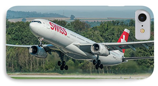 Airbus A330-300 Swiss Air Hb-jhc IPhone Case by Roberto Chiartano