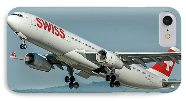 Airbus A330-300 Swiss Air Hb-jhn IPhone Case by Roberto Chiartano