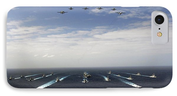 Aircraft Fly Over A Group Of U.s IPhone Case