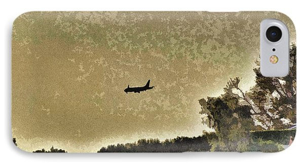 Airplane At Sunset 1 Abstract  IPhone Case by Linda Brody
