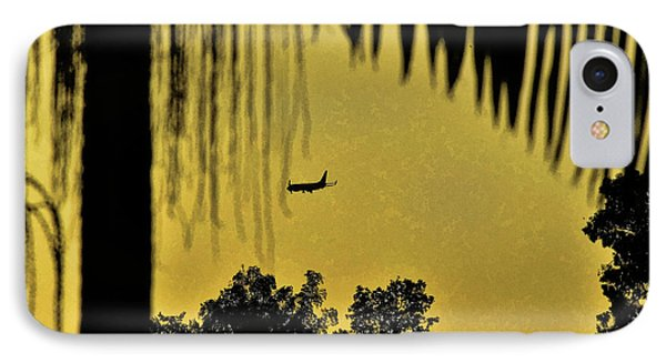 Airplane At Sunset 2 Abstract IPhone Case by Linda Brody