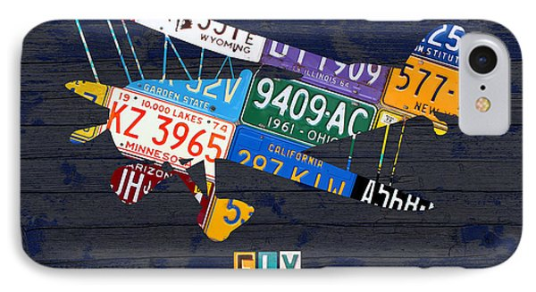 Airplane Vintage Biplane Silhouette Shape Recycled License Plate Art On Blue Barn Wood IPhone Case