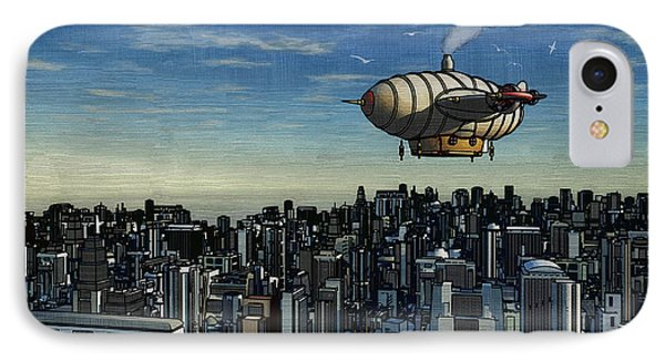 Airship Over Future City IPhone Case by Ken Morris
