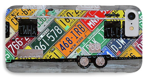 Airstream Camper Trailer Recycled Vintage Road Trip License Plate Art IPhone Case