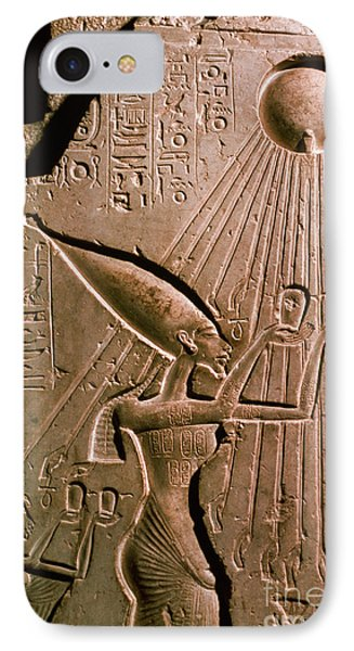 Akhenaton With Sun God Phone Case by Science Source