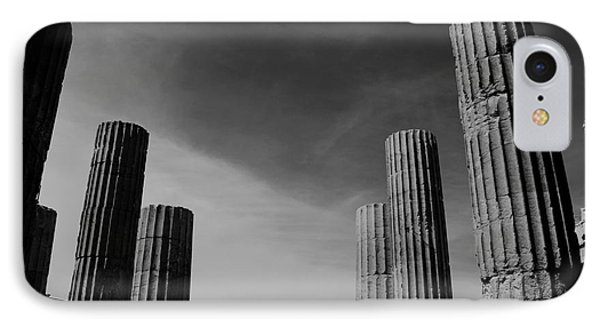 Akropolis Columns Black And White IPhone Case by Marina McLain