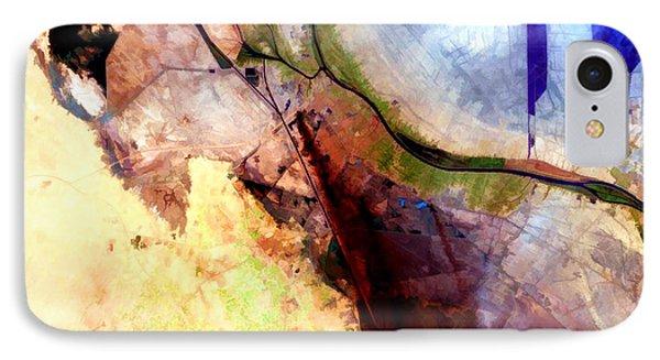 Al Basrah Iraq Watercolor From Landsat IPhone Case