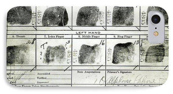 Al Capone Fingerprints IPhone Case by Jon Neidert